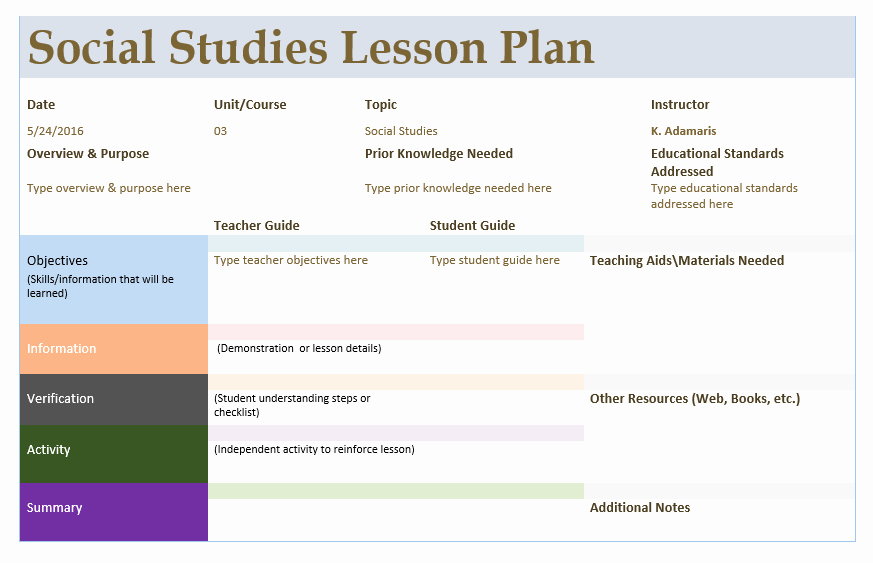 Social Studies Lesson Plan Template Lovely social Stu S Lesson Plan Template – Microsoft Word Templates