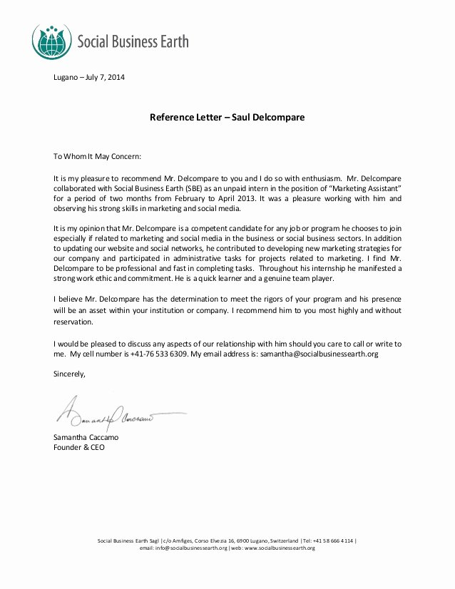 Social Work Letter Of Recommendation Awesome social Business Earth Re Mendation Letter