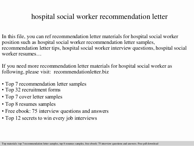 Social Work Letter Of Recommendation Elegant Hospital social Worker Re Mendation Letter