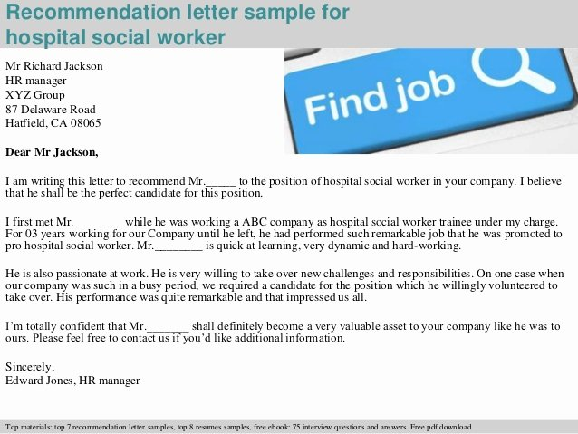 hospital social worker re mendation letter