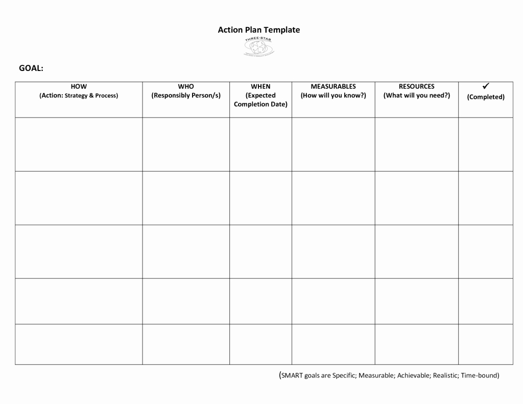 Social Work Treatment Plan Template Unique Very Simple Action Plan Template Word Example with Goal