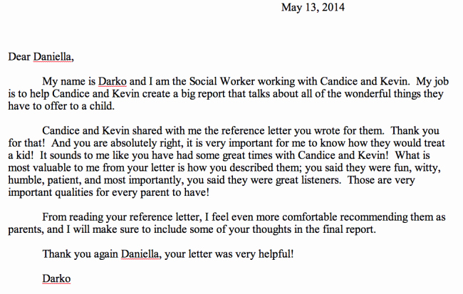 Social Worker Recommendation Letter Awesome Reply to Daniella's Reference Letter
