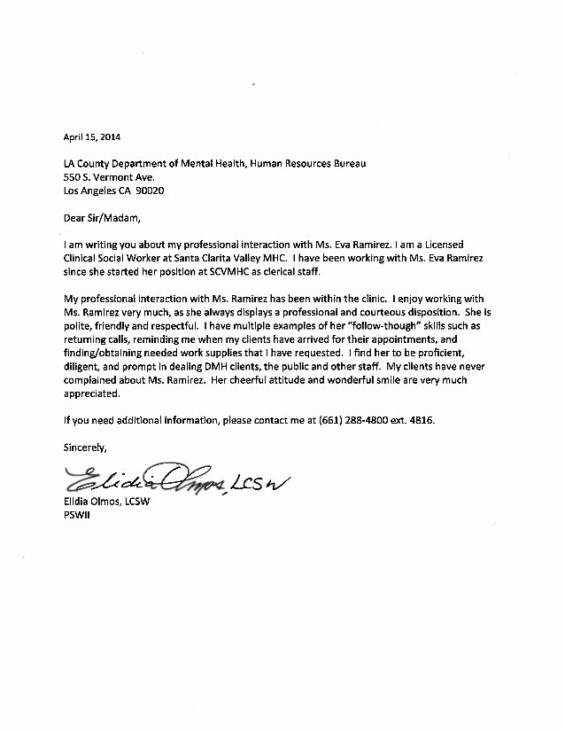 Social Worker Recommendation Letter Best Of Sample Reference Letter Clinical social Worker Wallpaperall