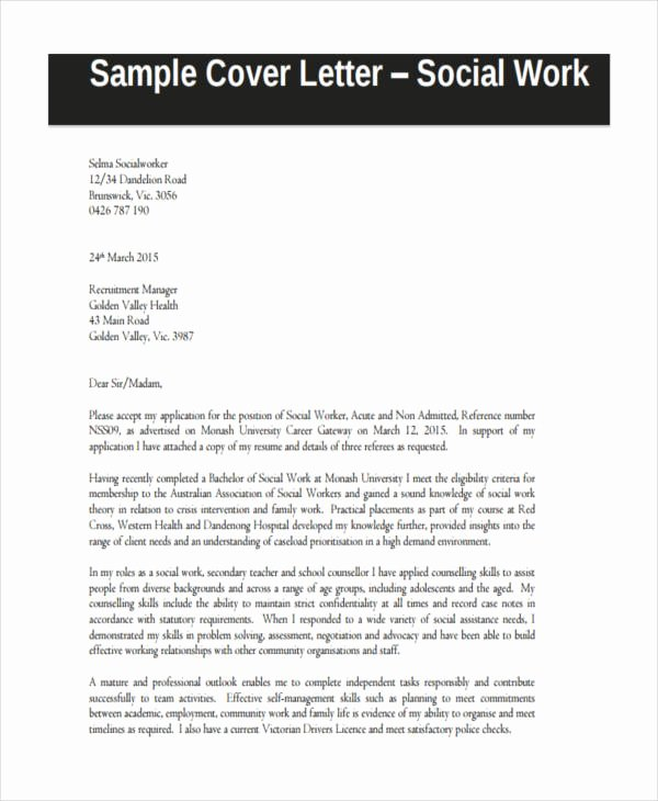 Social Worker Recommendation Letter Lovely 21 Sample Work Application Letters Free Sample Example