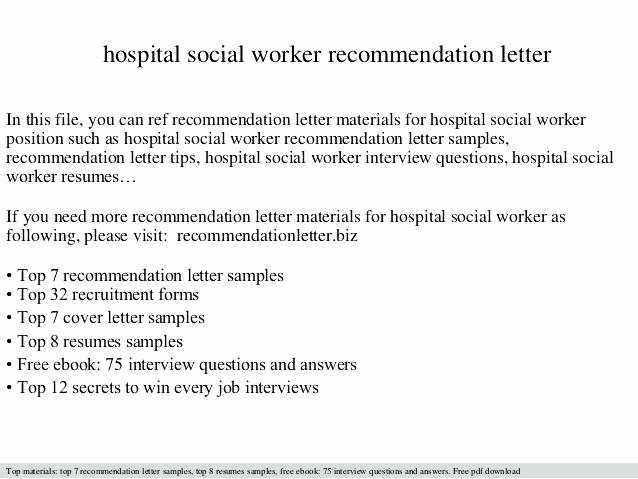 Social Worker Recommendation Letter Unique Employment Re Mendation Letter Sample Regarding for Job