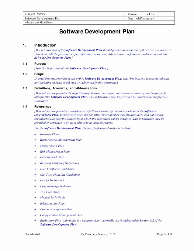 Software Development Plan Template New software Development Plan Template