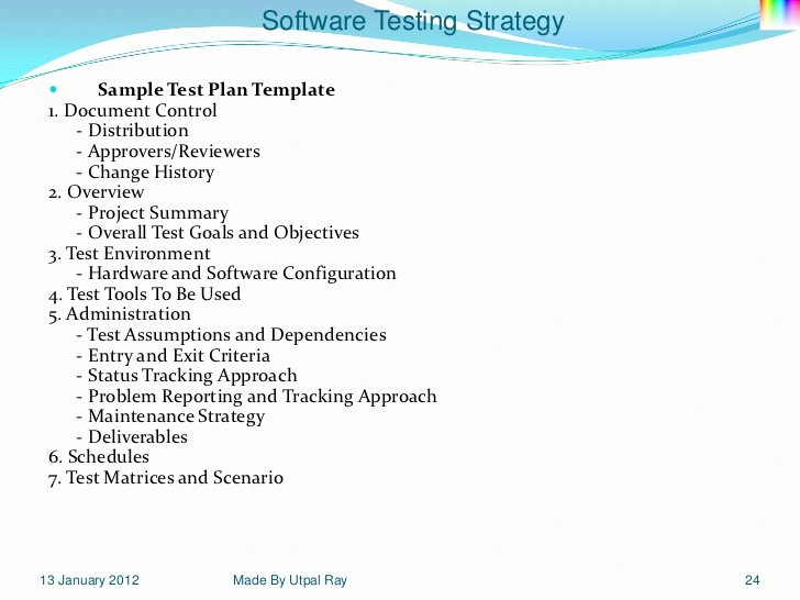 Software Test Plan Template Elegant 11 software Testing Strategy