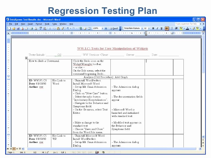 Software Test Plan Template Elegant Essential software Inc Regression Testing