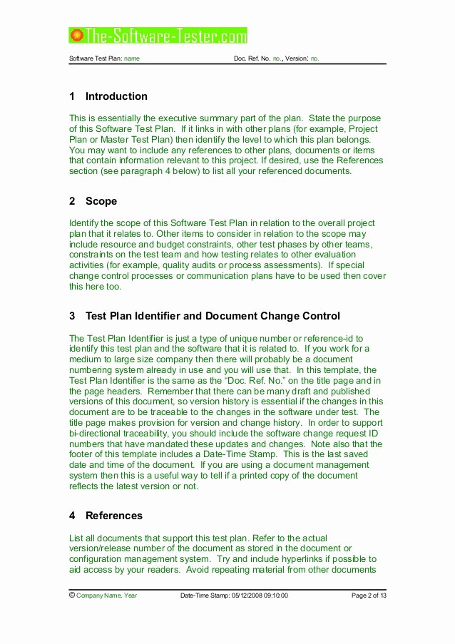 Software Test Plan Template New 02 software Test Plan Template