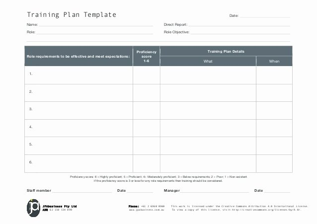 Software Training Plan Template New Jpabusiness Staff Training Plan Template