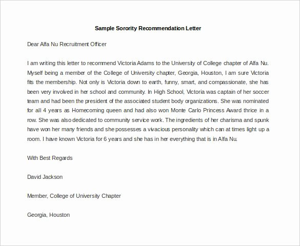 Sorority Letter Of Recommendation Beautiful 21 Re Mendation Letter Templates – Free Sample Example