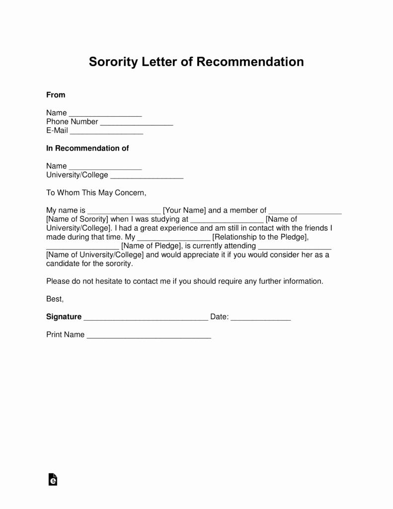 Sorority Letter Of Recommendation Lovely Free sorority Re Mendation Letter Template with