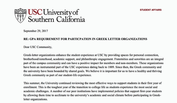 Sorority Letter Of Support Luxury Usc Instates Gpa and Unit Requirements for Greek