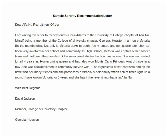 Sorority Recommendation Letter Example Awesome 30 Re Mendation Letter Templates Pdf Doc