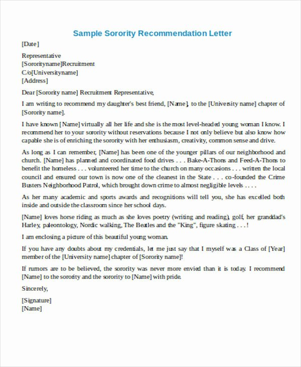 Sorority Recommendation Letter Example Luxury 4 Sample Re Mendation Request Letters