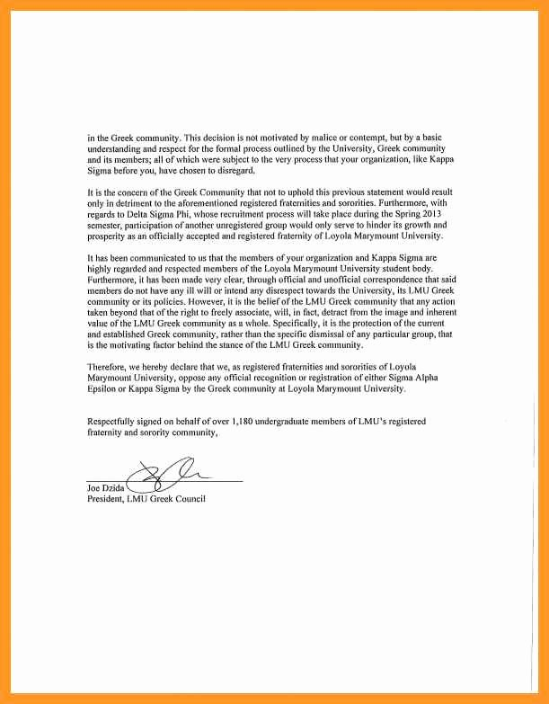 Sorority Recommendation Letter Sample Elegant Sample Interest Letter for sorority