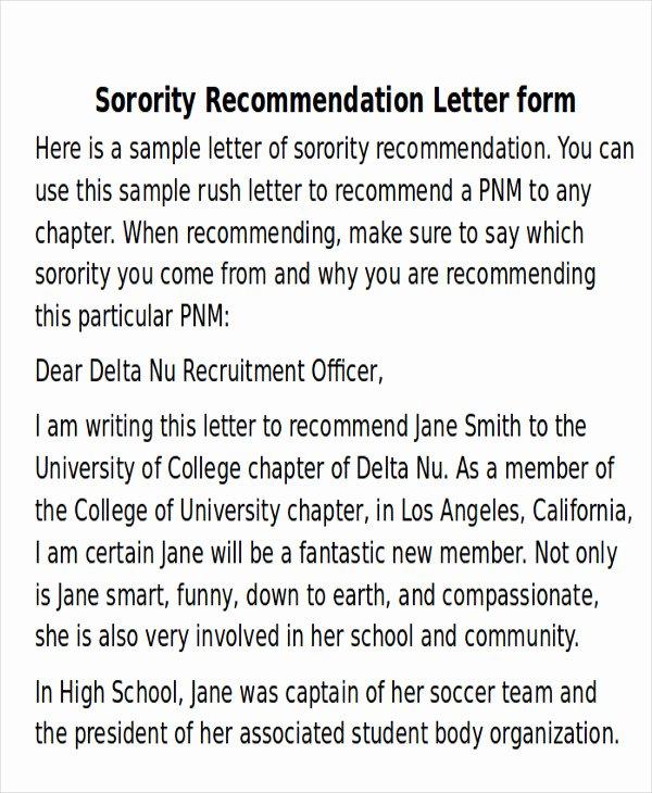 Sorority Recommendation Letter Sample Inspirational 6 Sample sorority Re Mendation Letters