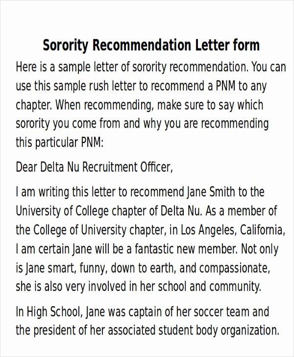 Sorority Recommendation Letter Template Fresh 6 Sample sorority Re Mendation Letters