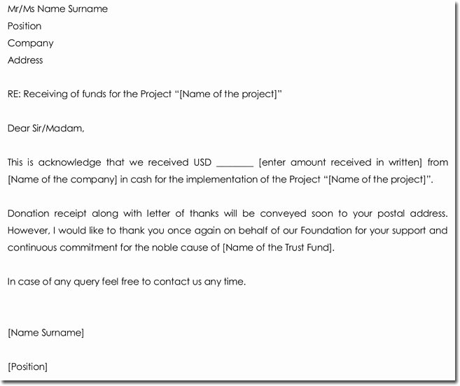 Source Of Funds Letter Template Inspirational Acknowledgement Letter Templates 18 Samples Examples