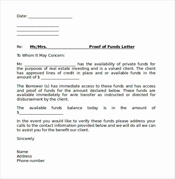 Source Of Funds Letter Template New Sample Proof Of Funds Letter 7 Download Free Documents