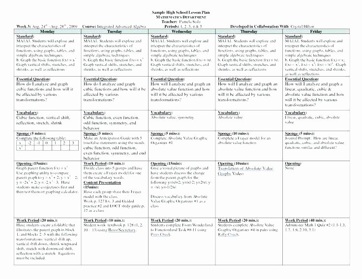 Special Education Lesson Plan Template Awesome Standards Based Lesson Plan Example Special Education