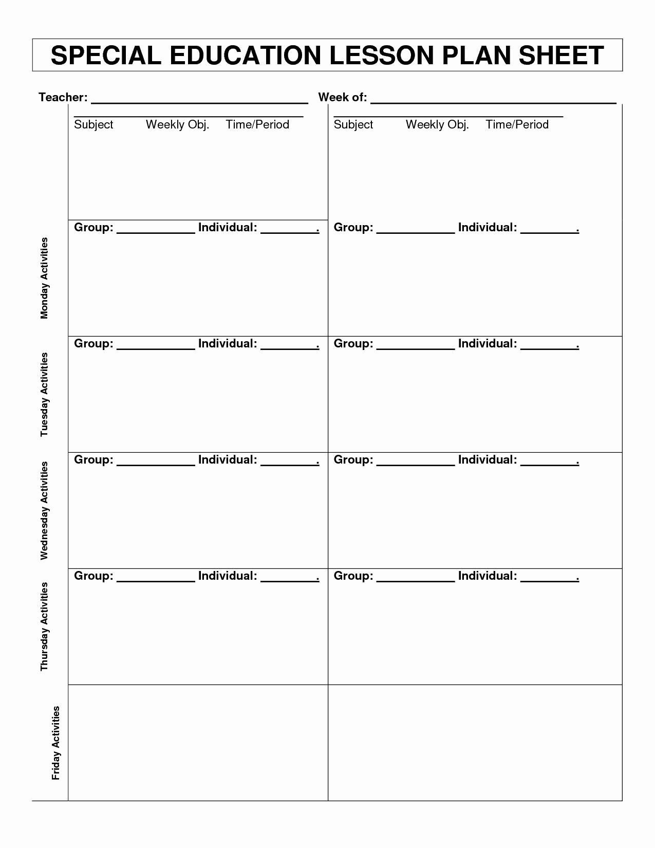Special Education Lesson Plan Template Lovely Special Education Lesson Plan Template Templates Collections