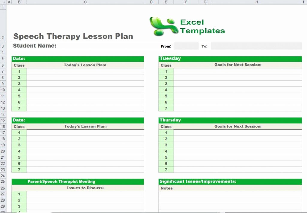 Speech therapy Lesson Plan Template Fresh Speech therapy Lesson Plan Template