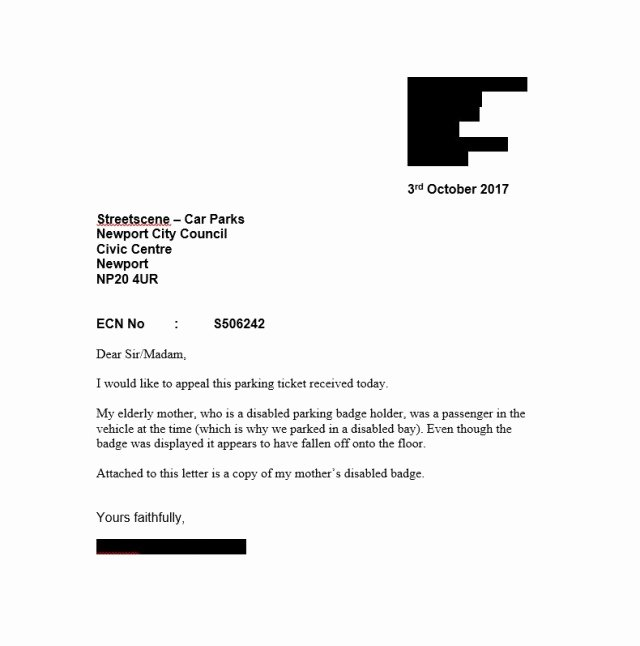 Speeding Ticket Appeal Letter Template Beautiful Fightback forums Council Parking Ticket In Disabled Bay