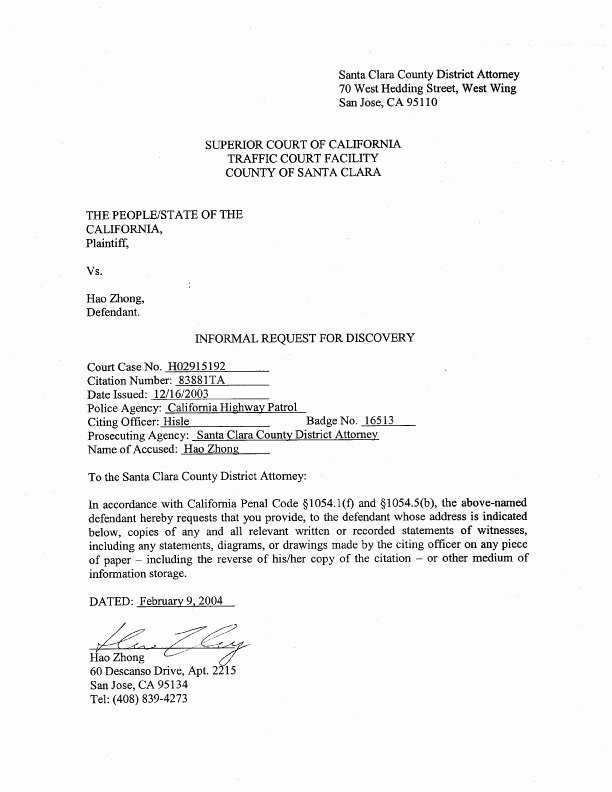 Speeding Ticket Appeal Letter Template Best Of People Of the State Of California Vs Hao Zhong
