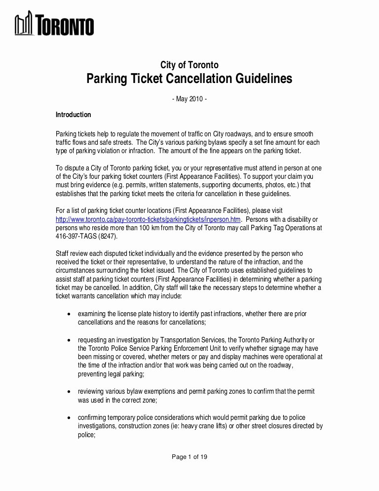 Speeding Ticket Appeal Letter Template Fresh City Of toronto Parking Ticket Rules & Regulations