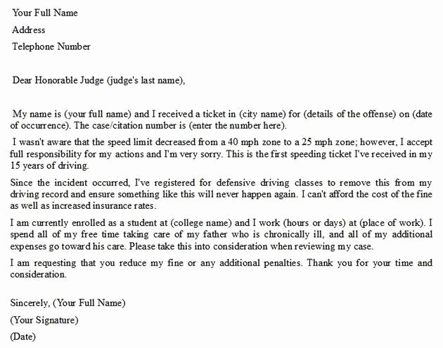 Speeding Ticket Letter Template Awesome Write A Letter Of Pleading Visihow