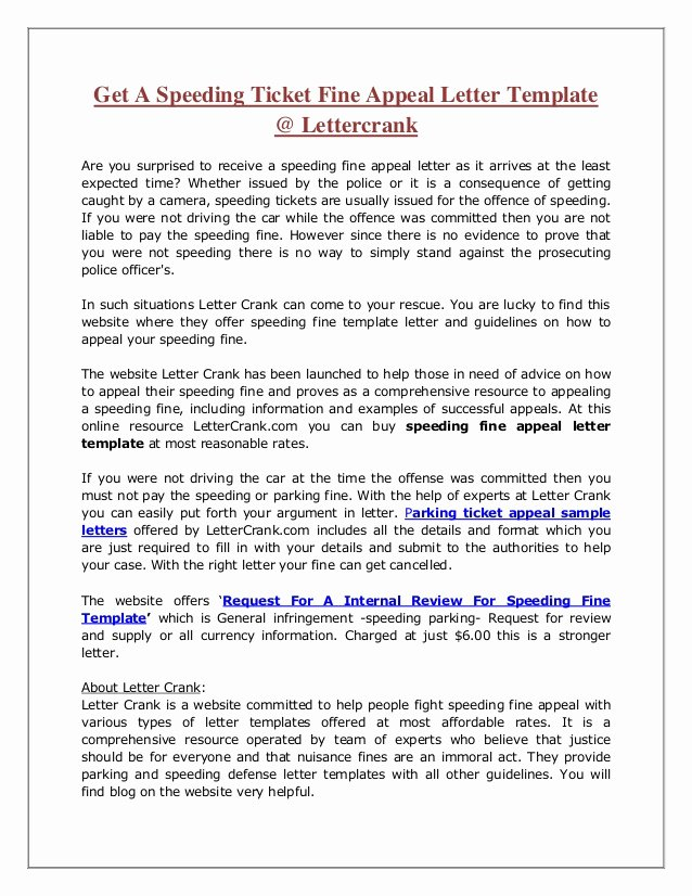 Speeding Ticket Letter Template Luxury Sample Letter for Speeding Fine