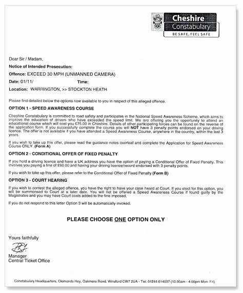 Speeding Ticket Letter Template Luxury Speed Awareness Course