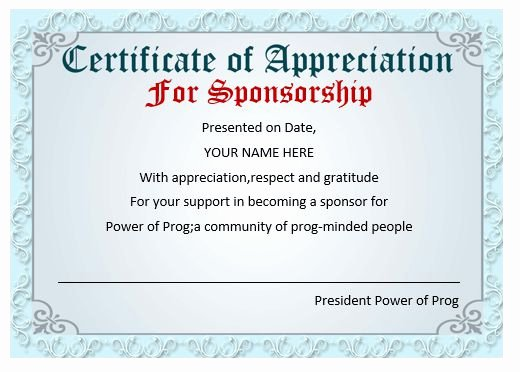 Sponsorship Plaque Wording Elegant 50 Professional Free Certificate Of Appreciation