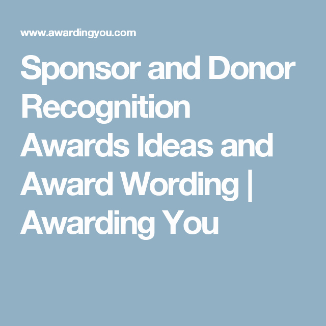Sponsorship Plaque Wording Elegant Sponsor and Donor Recognition Awards Ideas and Award