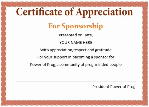 Sponsorship Plaque Wording Lovely 12 Elegant Certificates Of Appreciation for Sponsorship