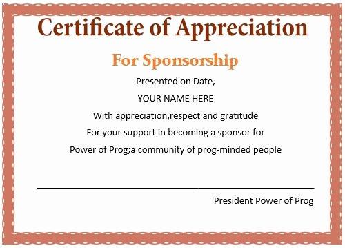 certificate appreciation sponsorship