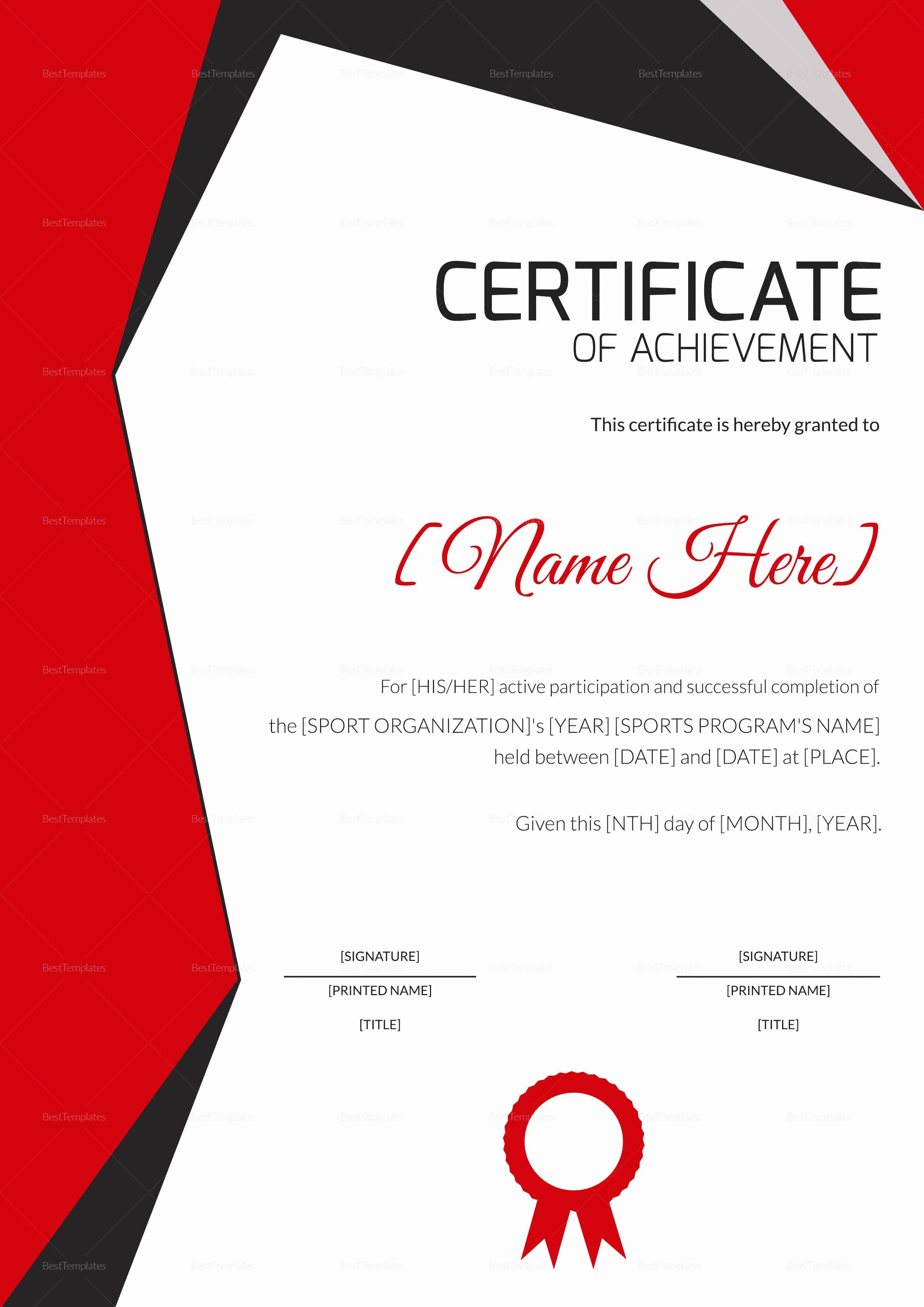 Sports Certificate Wording Beautiful Sports Achievement Award Certificate Design Template In