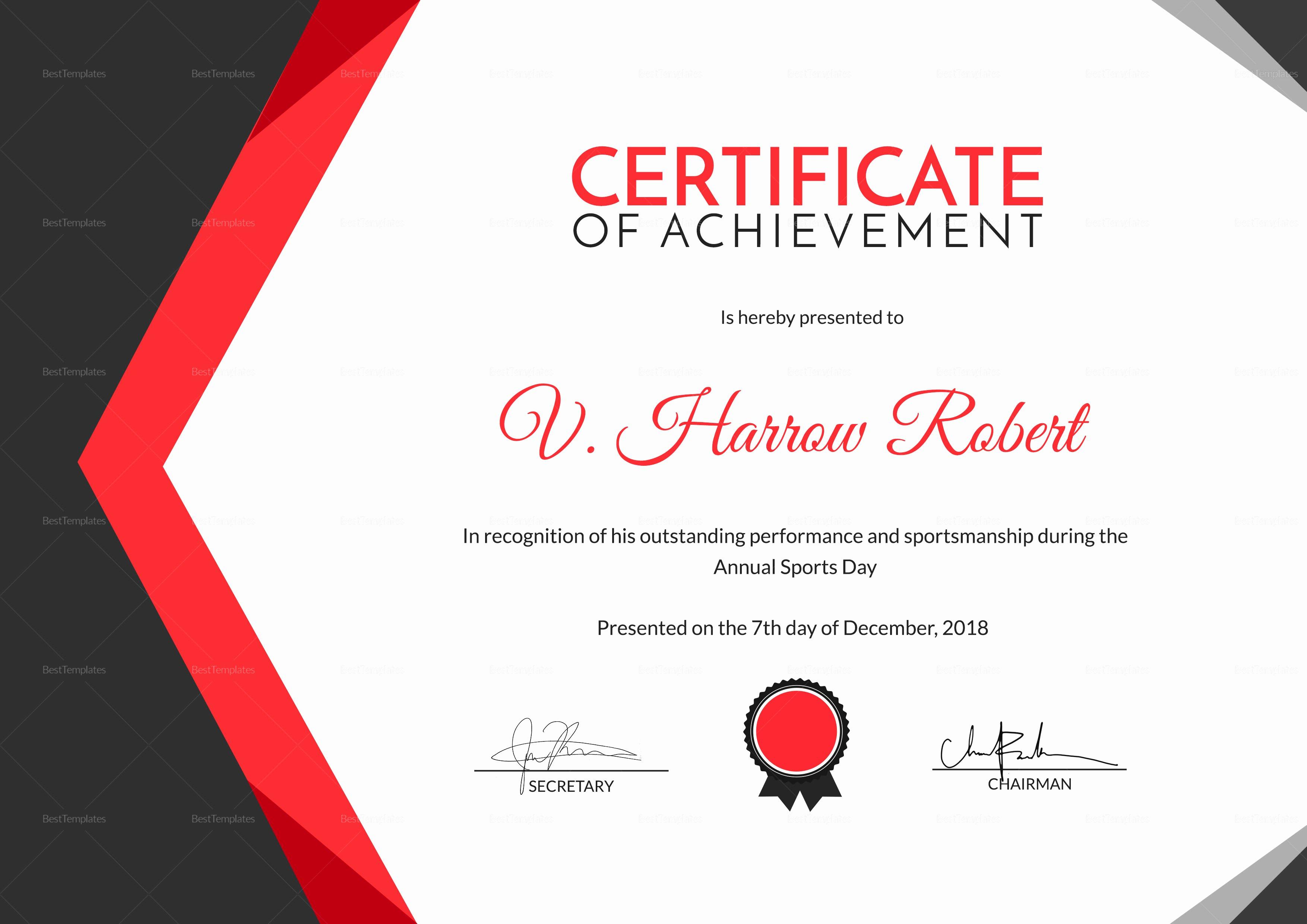 Sports Certificate Wording Fresh Sports Day Achievement Certificate Design Template In Psd