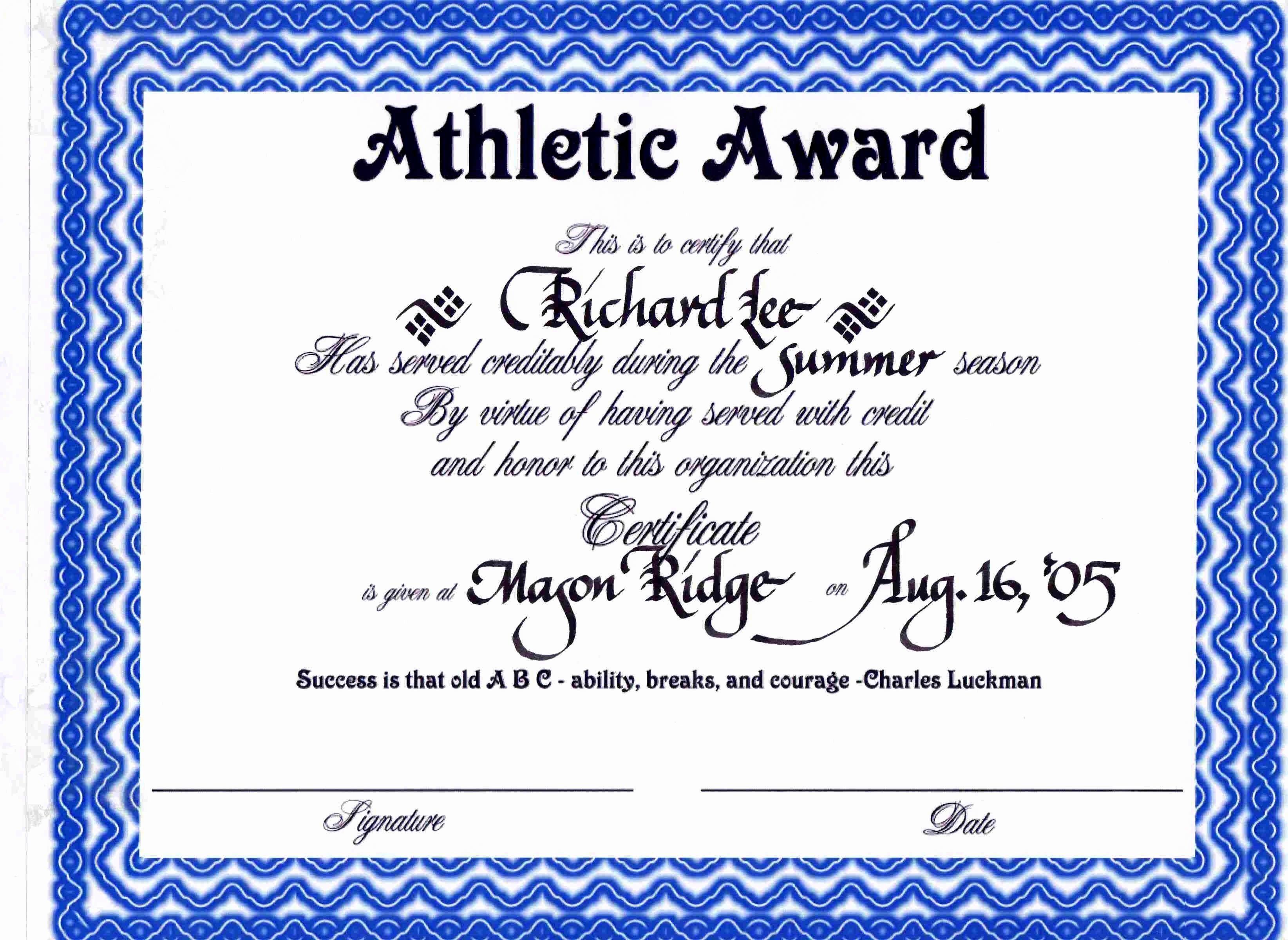 Sports Certificate Wording Luxury Sports Certificate Templates Portablegasgrillweber
