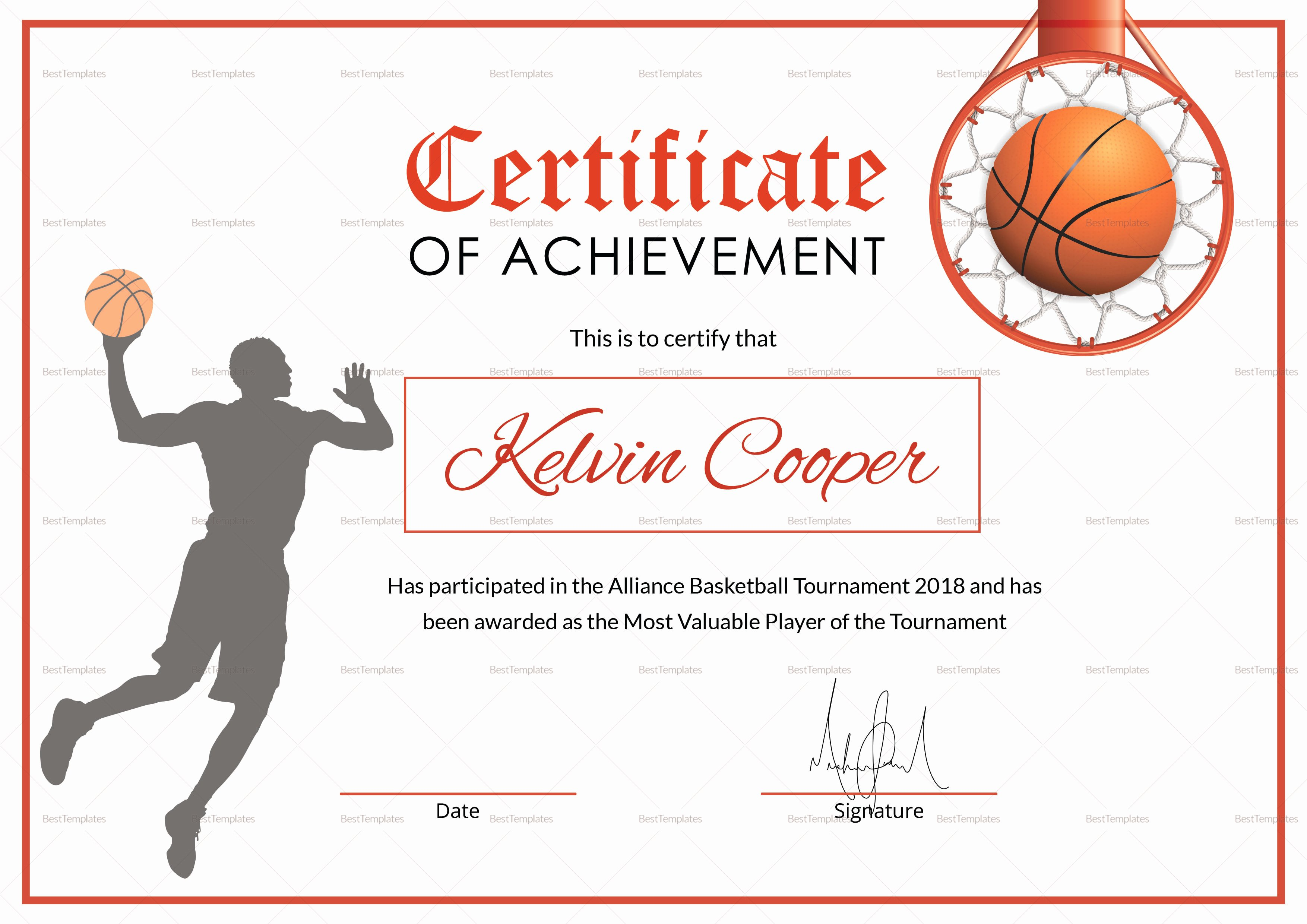 Sports Certificate Wording Unique Basketball Award Achievement Certificate Design Template