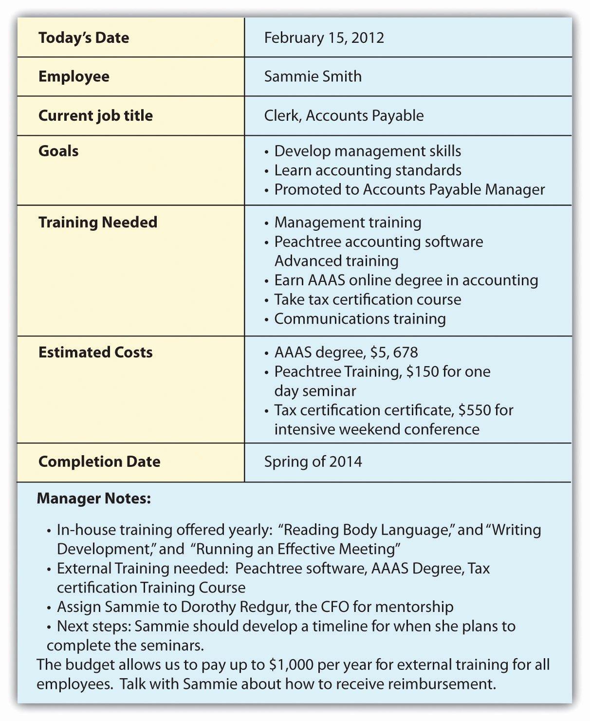 Staff Training Plan Template Fresh Individual Employee Training Plan Template