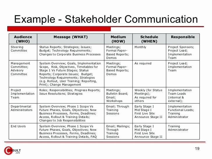 Stakeholders Management Plan Template Beautiful Project Munication Plan Template Strategy Sample