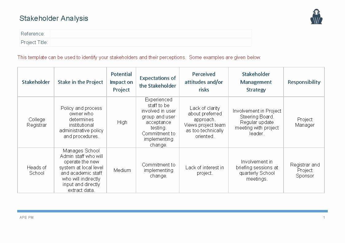Stakeholders Management Plan Template Elegant Stakeholder Analysis Template Ape Project Management