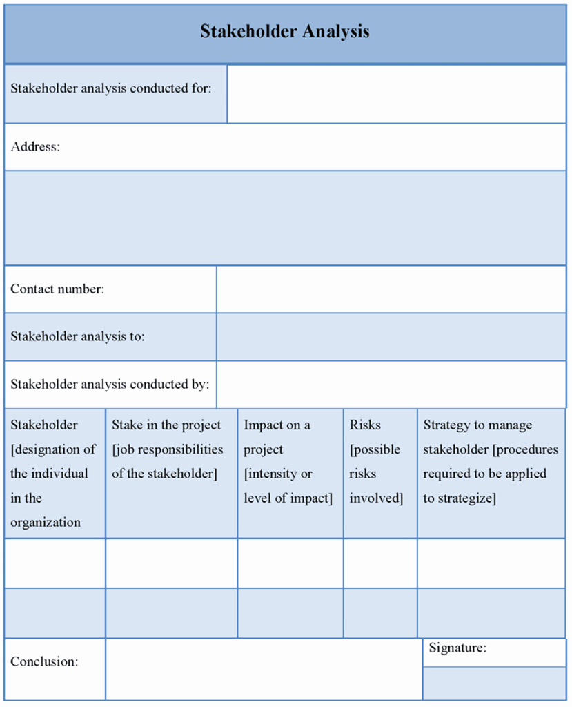 Stakeholders Management Plan Template Lovely Analysis Template for Stakeholder format Of Stakeholder