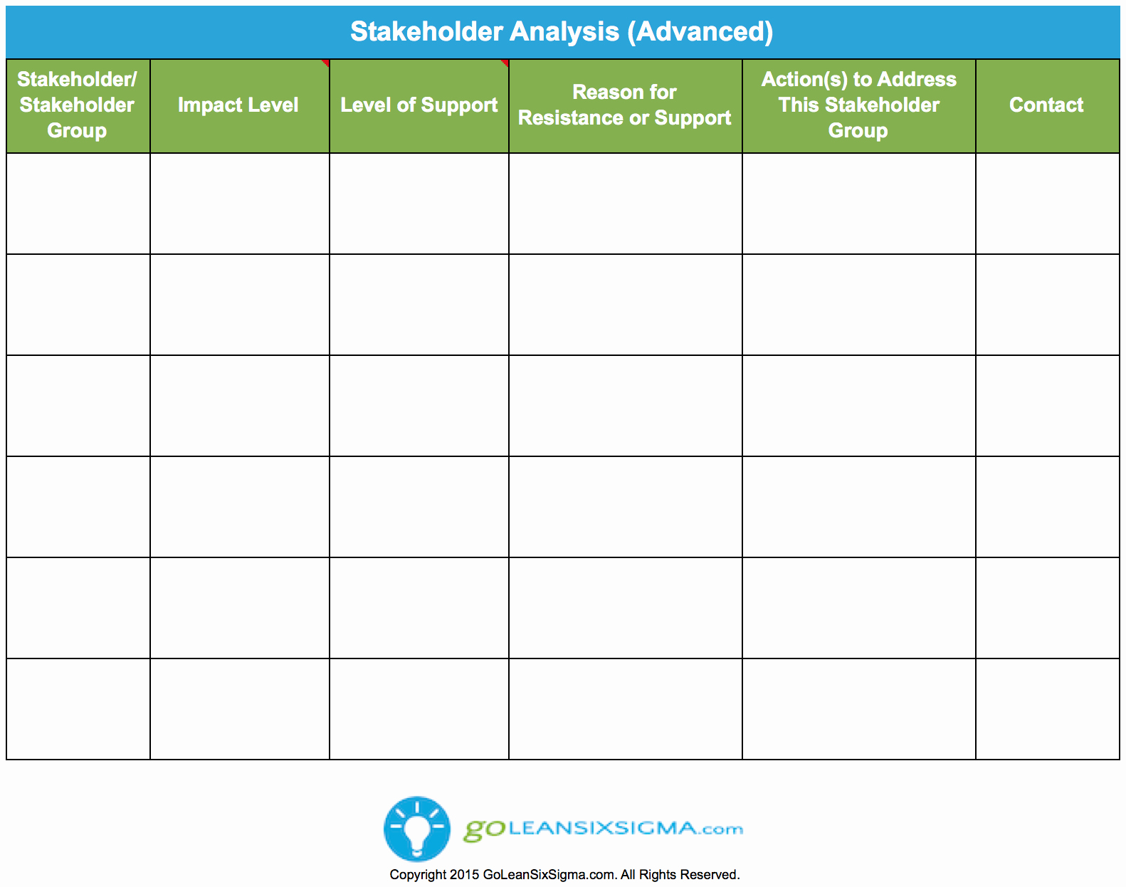 Stakeholders Management Plan Template Luxury Stakeholder Analysis Advanced Goleansixsigma