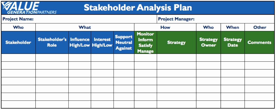 Stakeholders Management Plan Template Unique Value Generation Partners