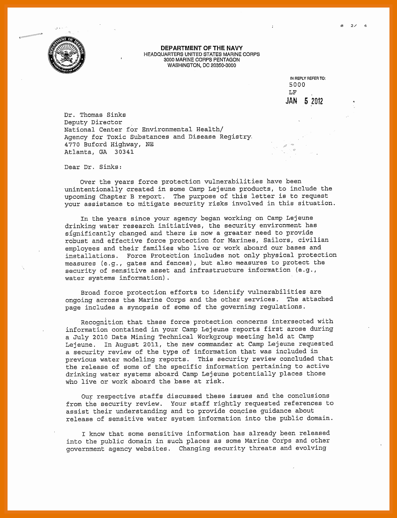 Standard Naval Letter format Awesome 5 6 Naval Letter format