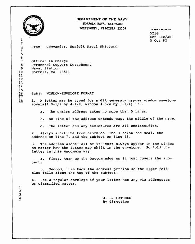 Standard Naval Letter format Best Of Best S Of Navy Standard Letter format Standard