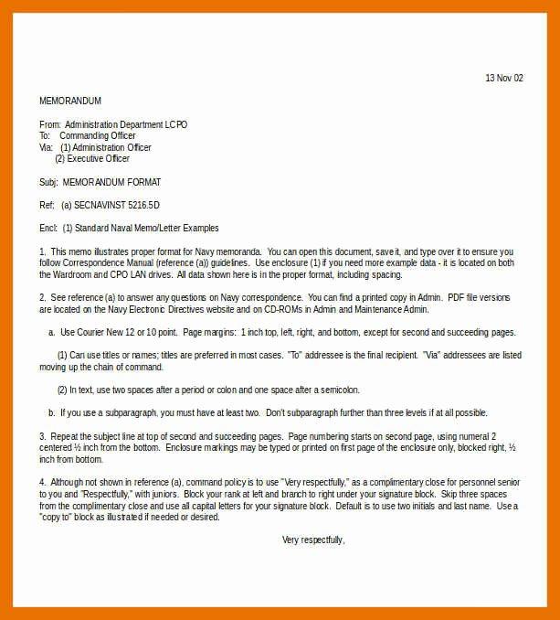 Standard Naval Letter format Elegant 5 6 Naval Letter format